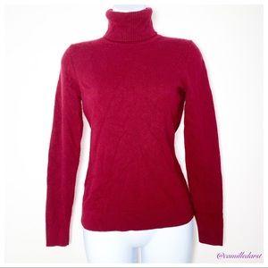 ANN TAYLOR | MaroonRed Cashmere Turtleneck Sweater